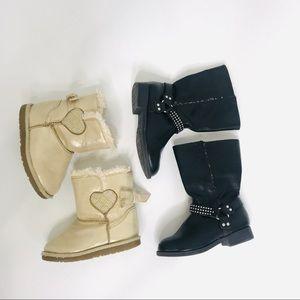 Girls Winter Boot Bundle Black and Gold sz 7/8